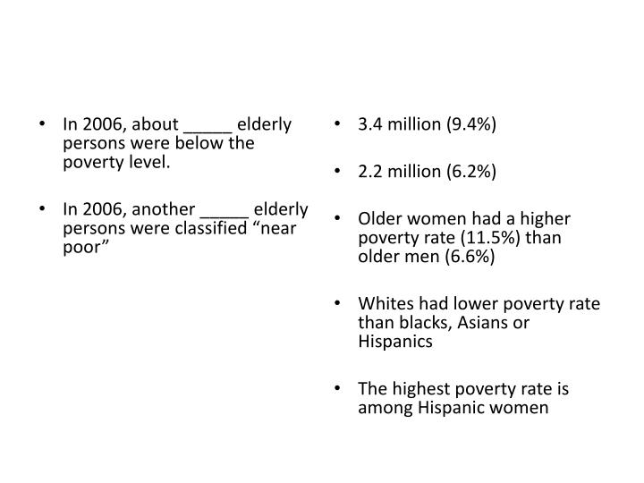 In 2006, about _____ elderly persons were below the poverty level.