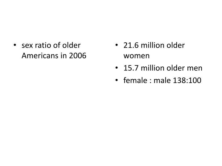 sex ratio of older Americans in 2006