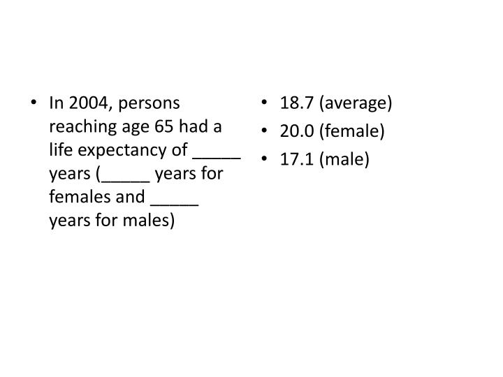 In 2004, persons reaching age 65 had a life expectancy of _____ years (_____ years for females and _____ years for males)