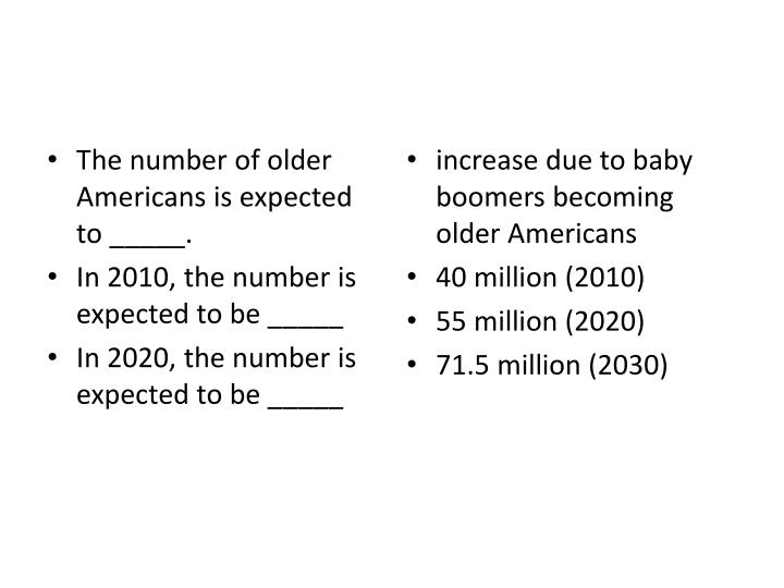 The number of older Americans is expected to _____.