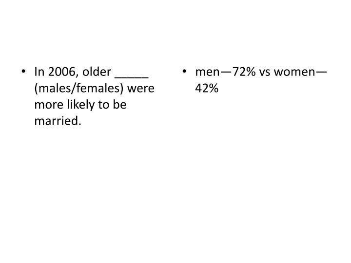 In 2006, older _____  (males/females) were more likely to be married.