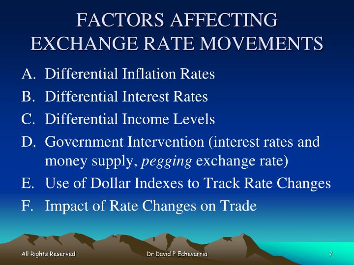 FACTORS AFFECTING EXCHANGE RATE MOVEMENTS