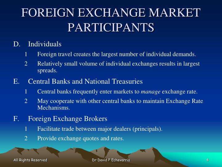 FOREIGN EXCHANGE MARKET PARTICIPANTS
