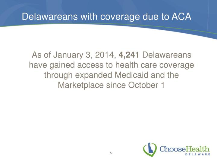 Delawareans with coverage due to ACA
