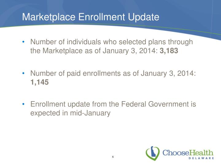 Marketplace Enrollment Update