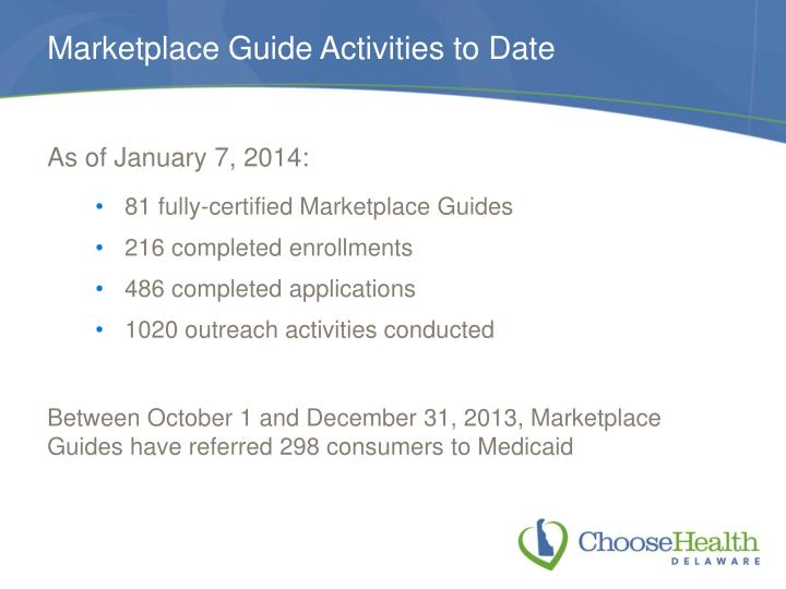 Marketplace Guide Activities to Date