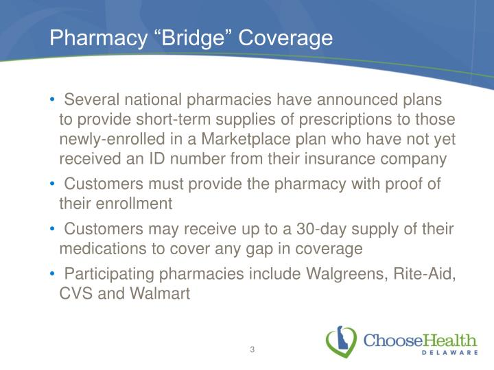 Pharmacy bridge coverage