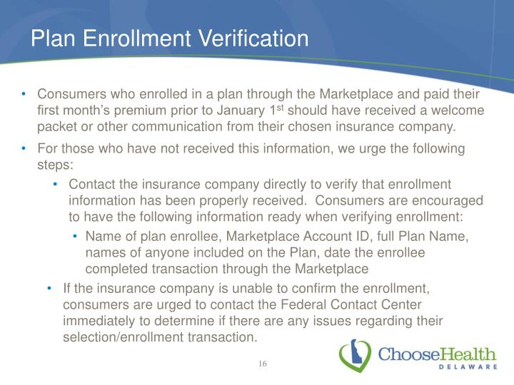 Plan Enrollment Verification