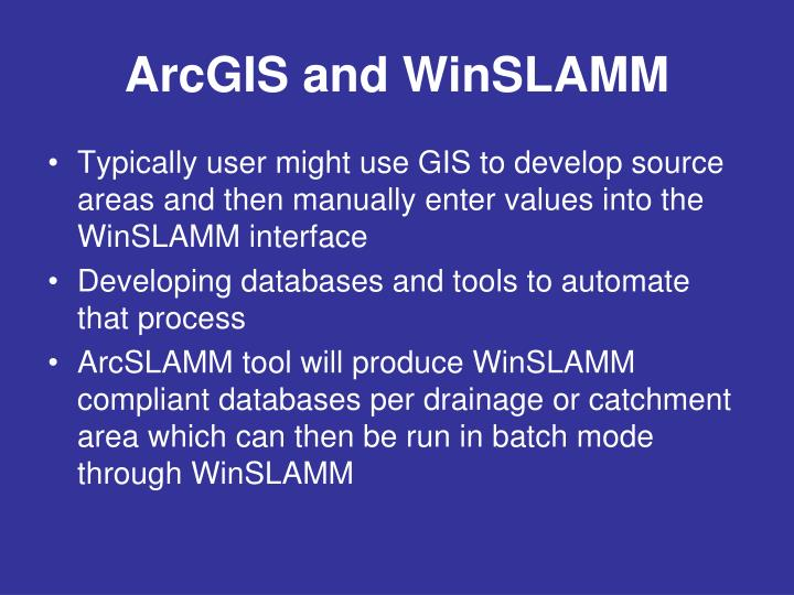 ArcGIS and WinSLAMM