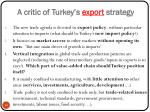a critic of turkey s export strategy