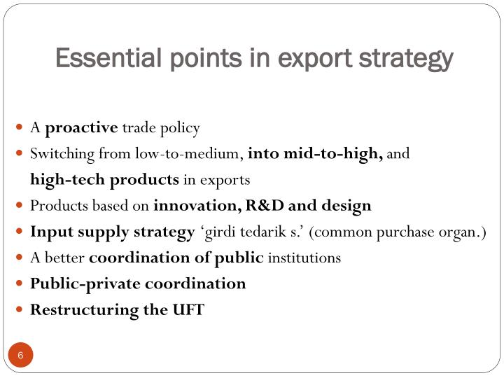 Essential points in export strategy