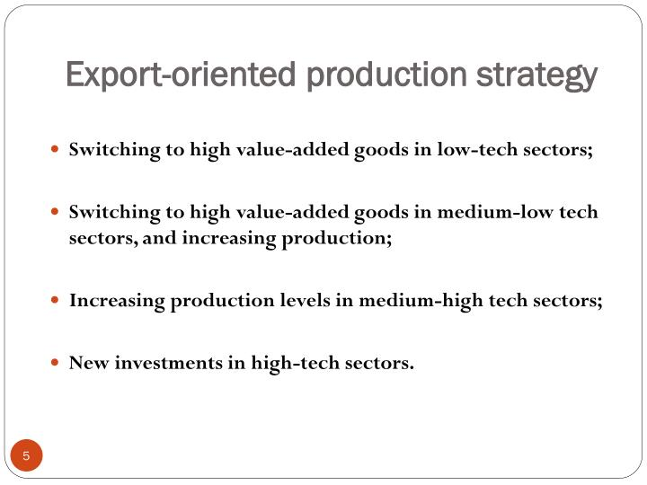 Export-oriented production strategy