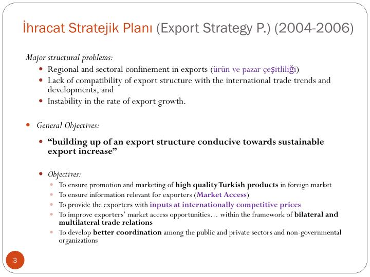 Hracat stratejik plan export strategy p 2004 2006