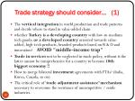 trade strategy should consider 1