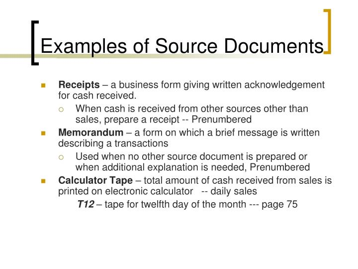 Examples of Source Documents