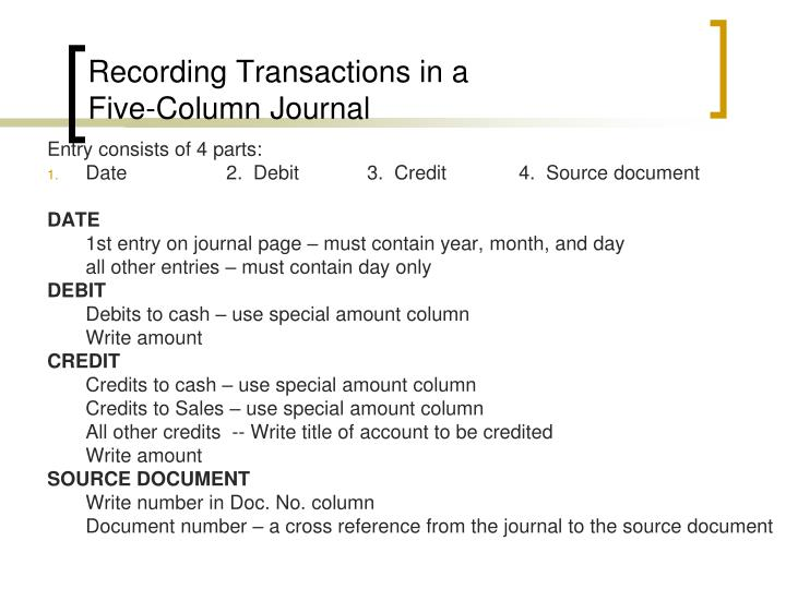 Recording Transactions in a