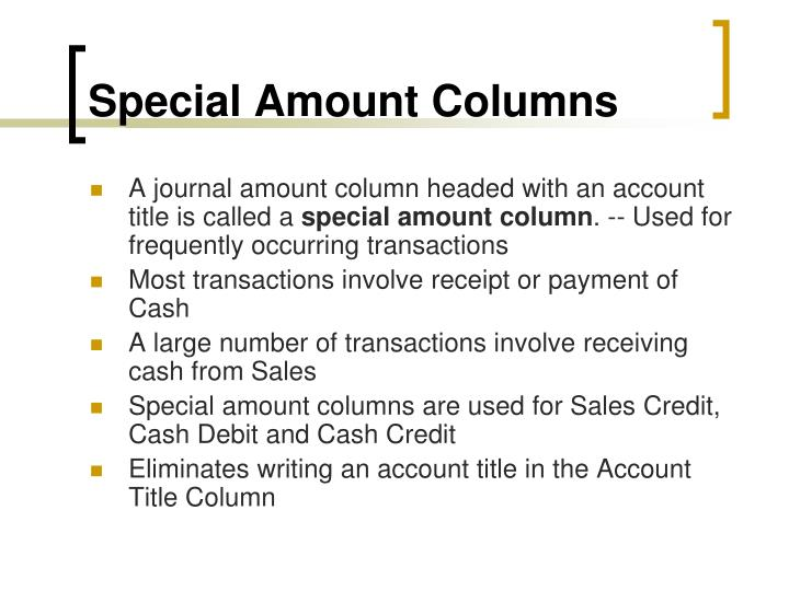 Special Amount Columns