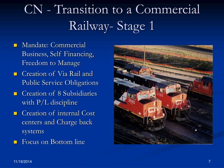CN - Transition to a Commercial Railway- Stage 1
