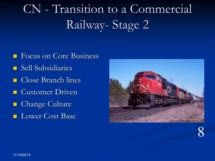 CN - Transition to a Commercial Railway- Stage 2