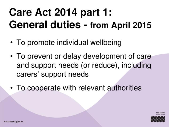 Care Act 2014 part 1: