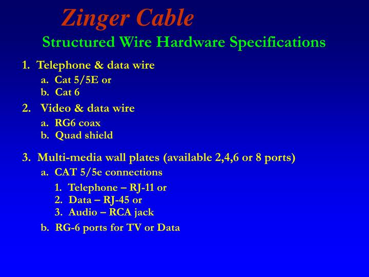 Structured Wire Hardware Specifications