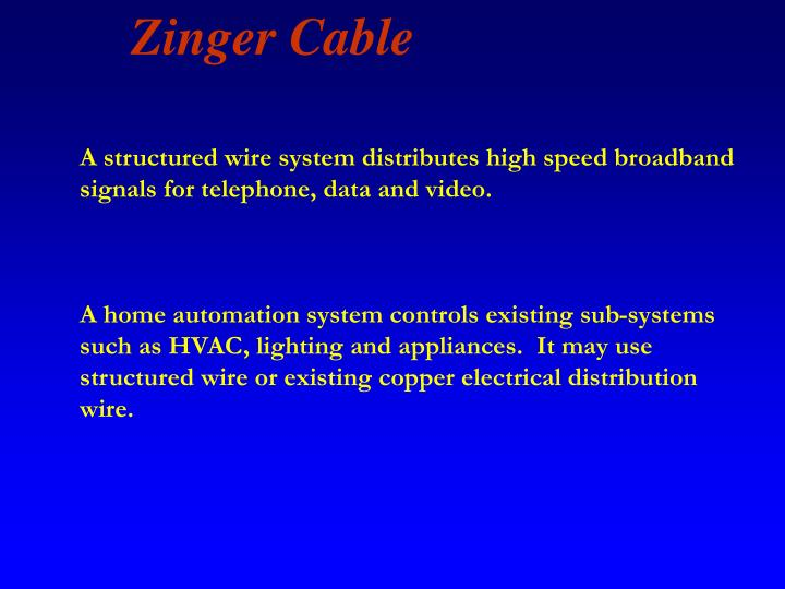 A structured wire system distributes high speed broadband signals for telephone, data and video.