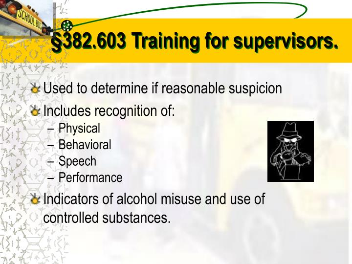 §382.603 Training for supervisors.