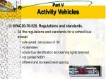 part v activity vehicles