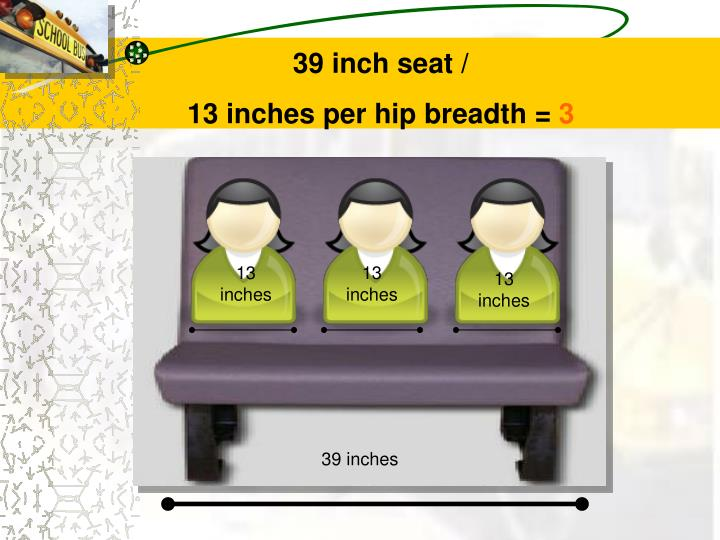39 inch seat /