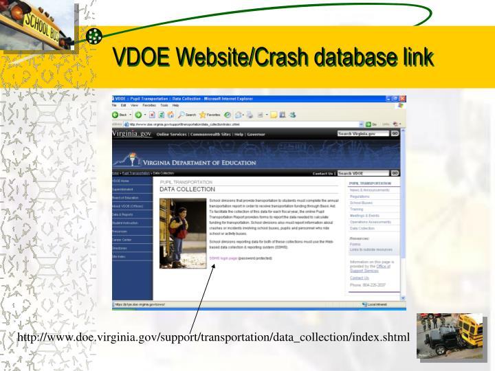 VDOE Website/Crash database link