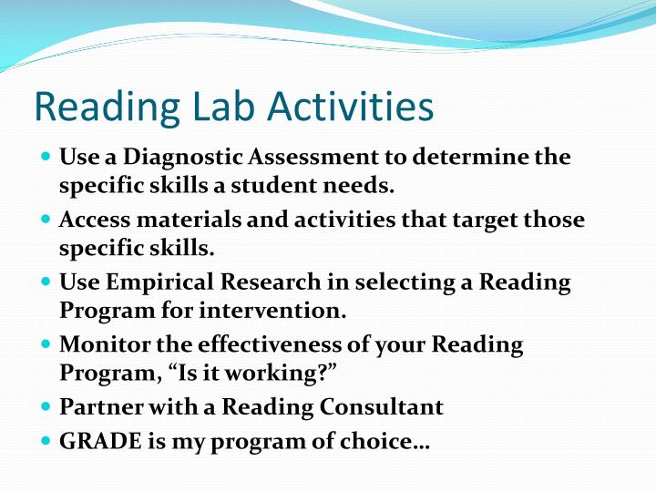 Reading Lab Activities
