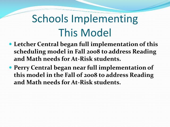 Schools Implementing