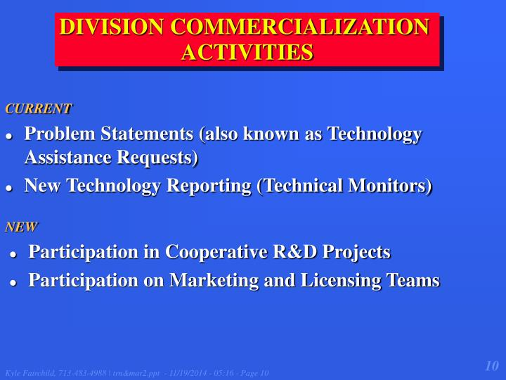 DIVISION COMMERCIALIZATION