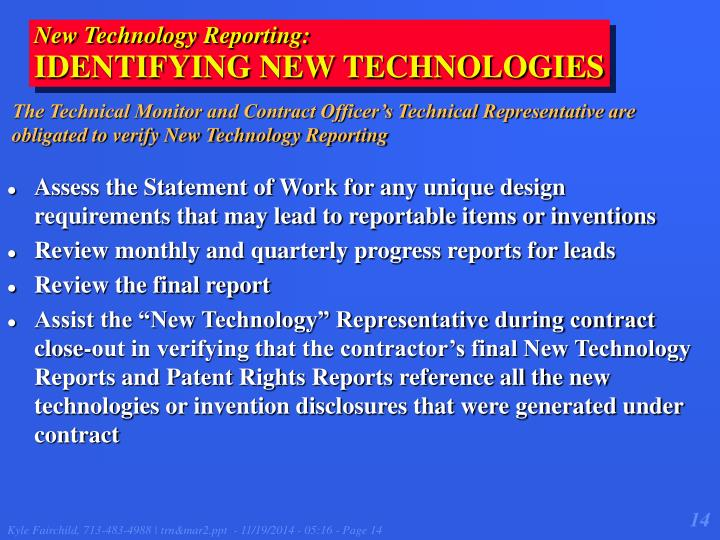 New Technology Reporting: