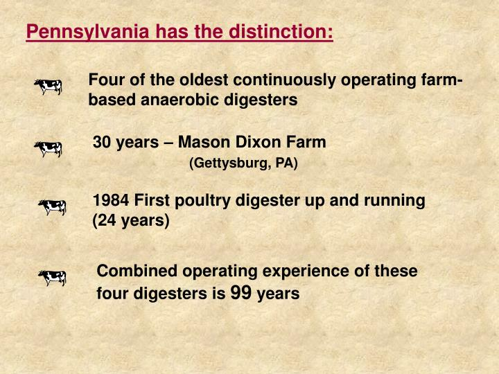 Pennsylvania has the distinction:
