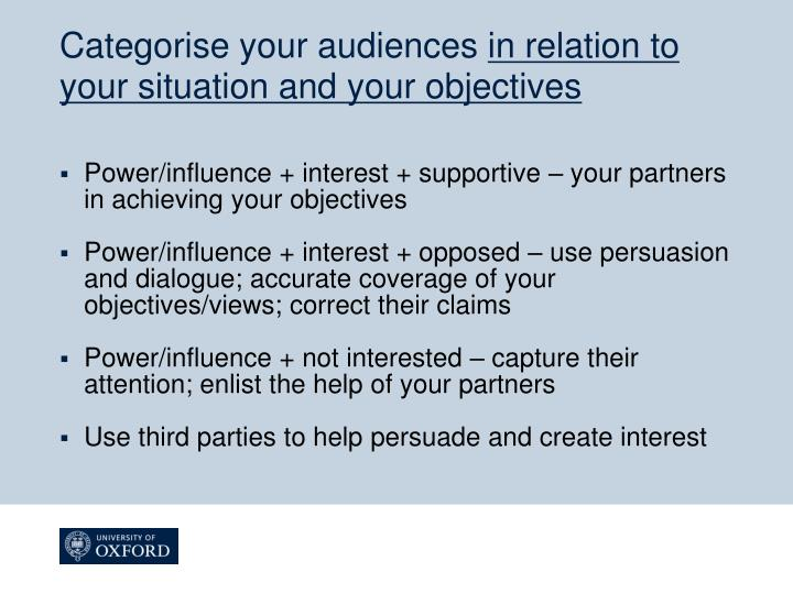 Categorise your audiences