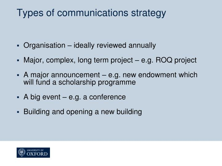 Types of communications strategy