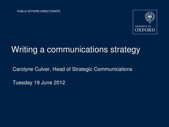 Writing a communications strategy