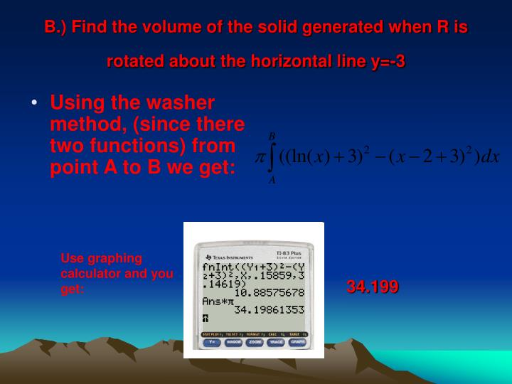 B.) Find the volume of the solid generated when R is