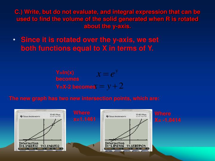 C.) Write, but do not evaluate, and integral expression that can be used to find the volume of the solid generated when R is rotated about the y-axis.