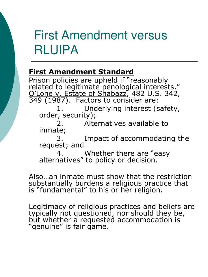 First Amendment versus RLUIPA