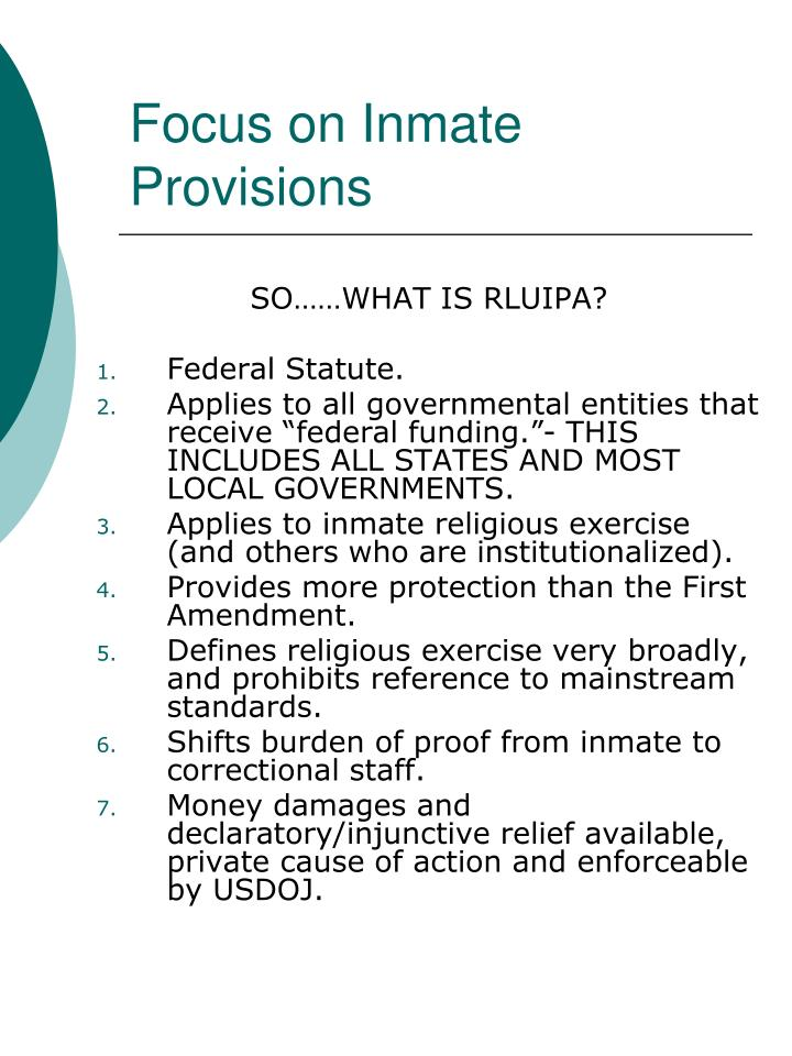 Focus on Inmate Provisions