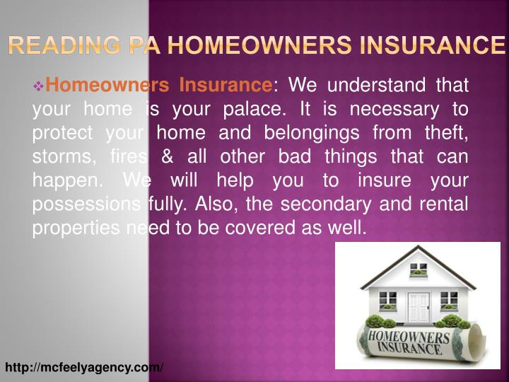 Reading PA Homeowners Insurance