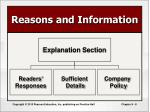 reasons and information