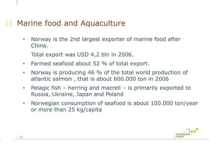 Marine food and Aquaculture