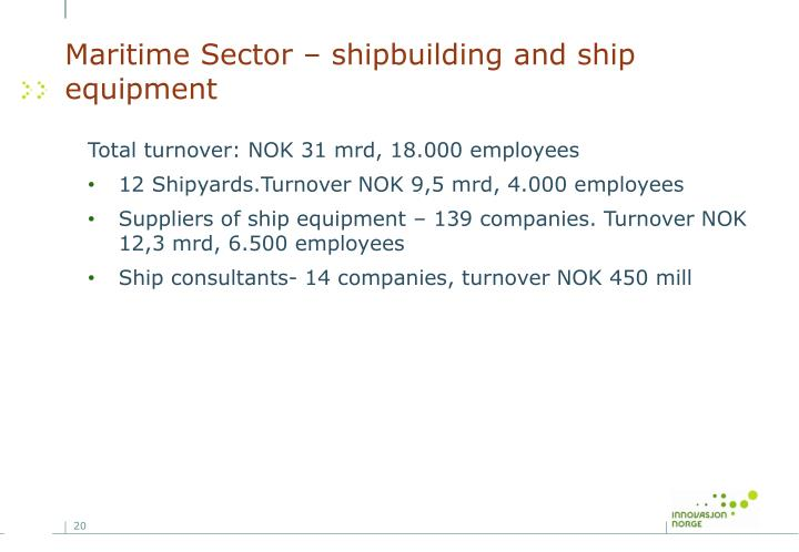 Maritime Sector – shipbuilding and ship equipment