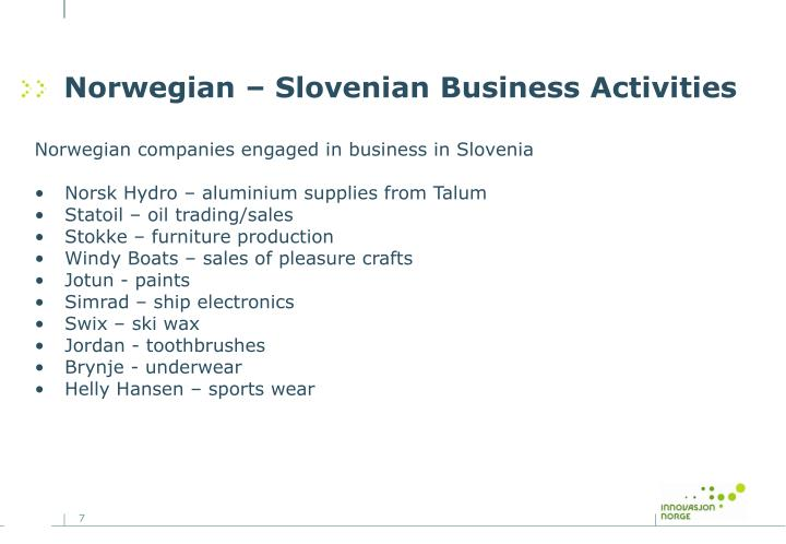 Norwegian – Slovenian Business Activities