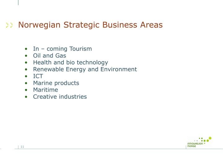 Norwegian Strategic Business Areas