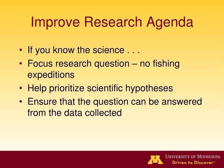 Improve Research Agenda