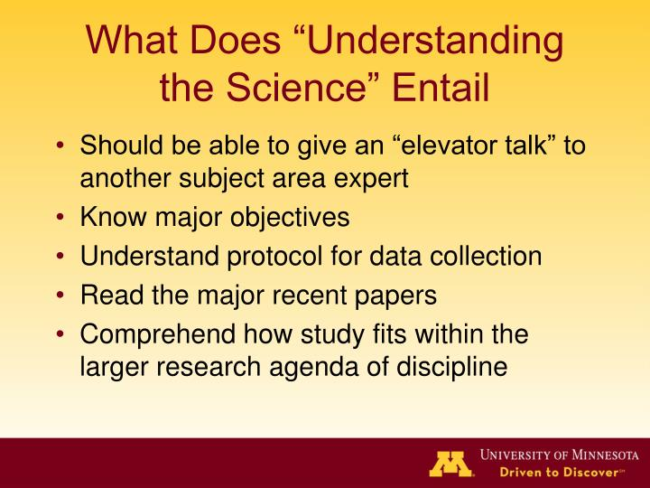 What does understanding the science entail